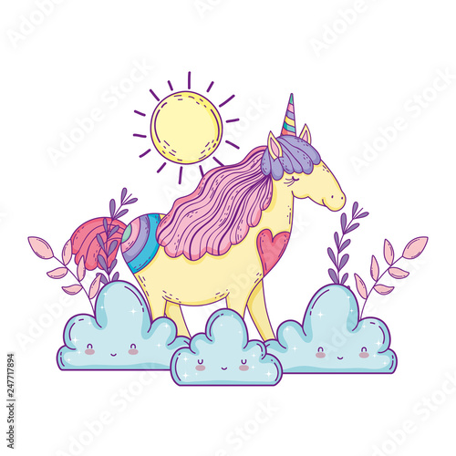 beautiful little unicorn with clouds and sun