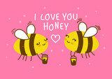Cute honey bees on pink background