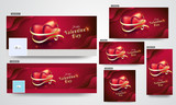 Glossy heart shapes with golden ribbon illustration on red background. Valentine's Day social media header and poster set. - 247722675