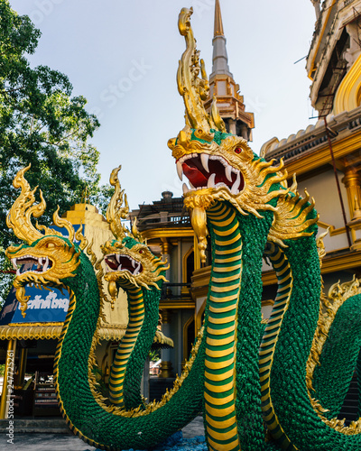 Thai dragon or Snake god Nagas statue at Tiger cave temple (Wat Thum Sua) before the new Chedi, Tiger Cave Temple, Wat Tham Sua, Krabi, Thailand, Asia