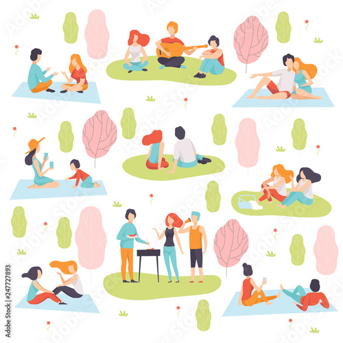 Young Men and Women Having Picnic and Cooking Meat on Barbecue Grill Set, People Relaxing on Nature Vector Illustration