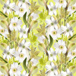 Beautiful floral background of narcissus and alstroemerias