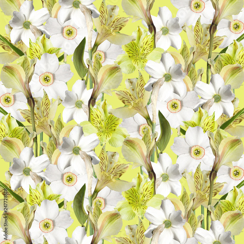 Beautiful floral background of narcissus and alstroemerias - 247728608