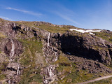 Waterfall in mountains. Norwegian route Sognefjellet