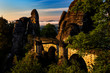 Leinwanddruck Bild - Basteibruecke bei Rathen, Nationalpark Saechsische Schweiz, Elbsandsteingebirge, Sachsen, Deutschland