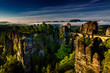 Leinwanddruck Bild - Basteibruecke bei Rathen, Felsenbuehne, Nationalpark Saechsische Schweiz, Elbsandsteingebirge, Sachsen, Deutschland