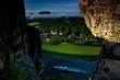 Leinwanddruck Bild - Blick von der Bastebrueckei bei Rathen, Nationalpark Saechsische Schweiz, Elbsandsteingebirge, Sachsen, Deutschland