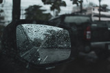 car driving on road with storm of rainy day - 247747602