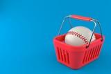 Baseball ball inside shopping basket
