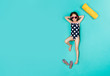 Quadro Cute girl imagining sunbathing on vacation