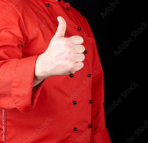 fototapeta na ścianę cook in red shows gesture like