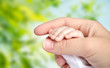 Leinwandbild Motiv family, motherhood, parenting, people and child care concept - close up of mother and newborn baby hands over green natural background