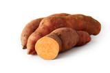Organic orange sweet potato isolated on white background