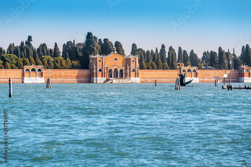 Old cemetery on island in Venice is a famous tourist landmark and destination