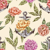 Anchor and peones seamless pattern