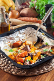 Roasted vegetables on baking metal tray - 247775238