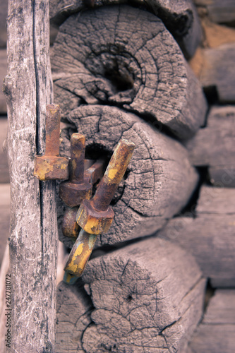The wall of old house.Background. - 247781072