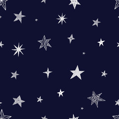 Cute stars. Seamless vector pattern. Seamless pattern can be used for wallpaper, pattern fills, web page background, surface textures. © vyazovskaya