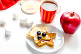 concept kid breakfast with pancake on white background - 247785843