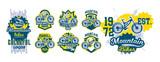 Mountain bike emblem set. Sport bike logo. Sport bicycle, downhill, mtb, bmx, race, extreme. Colorful collection, vector illustration