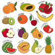 Vector isolated set of decorative kids fruit for print, decor.  - 247789835