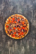 pizza cooked with standard cooked ham and mushrooms - 247793839