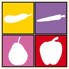 Pop art. Fruits et légumes en blanc