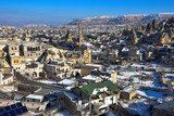 Panoramic view of Goreme in Cappadocia during winter, Turkey