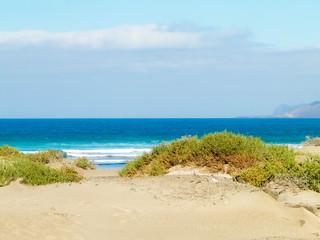 Beach and Atlantic Ocean in Caleta de Famara, Lanzarote Canary Islands.