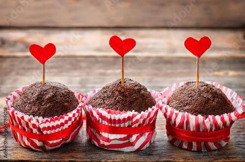 fototapeta na ścianę chocolate muffins for Valentine's day