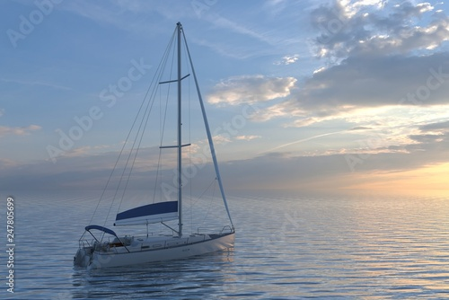 Sailing yacht on sea and sunset 3d illustration