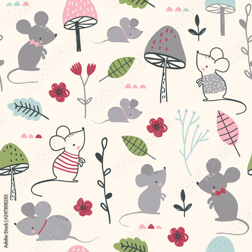 Seamless childish pattern with mouses, mushroom and flowers - 247808283