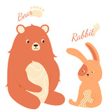 Cute hare and bear are sitting next to each other. Friendly characters communicate. Child illustration.