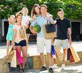 Family gladly shopping in town