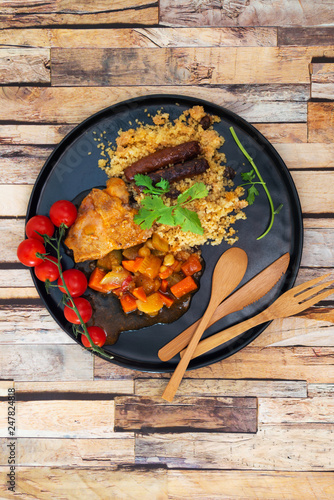 traditional moroccan dish couscous salad with Sausage - 247824818