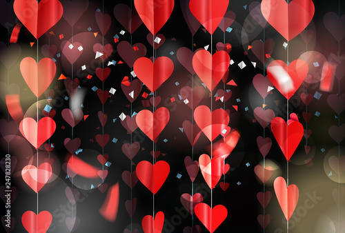 Red hearts on rope. Vector illustration - 247828230
