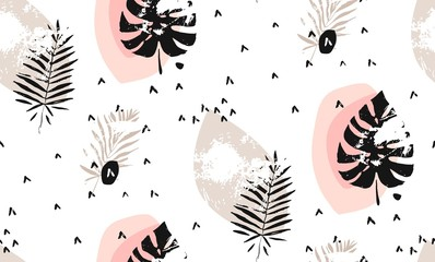 Hand drawn vector abstract graphic scandinavian freehand textured modern memphis style simple Tropical leaves seamless pattern isolated on white background