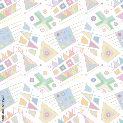 Seamless vector pattern. geometrical hand drawn background with rectangles, squares, triangles, dots, lines. Print for wallpaper, packaging, wrapping, fabric. Line drawing, graphic abstract design