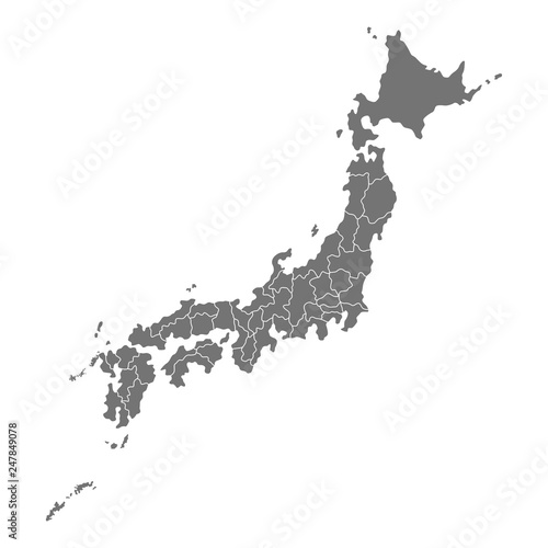 Administrative map of Japan with prefectures. illustration isolated on white background © lilkin