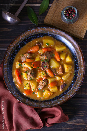Irish beef and stout stew. View from above, top studio shot - 247852878