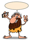 funny troglodyte caveman stone age characters illustration and selfie and speech bubble