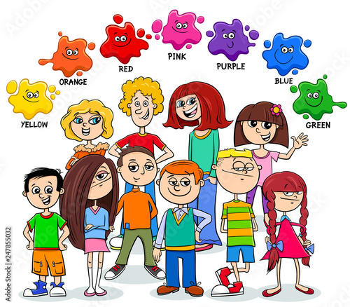 basic colors educational page with children