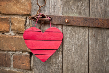 Red Wood Heart Hanging