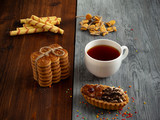 cookies, cracker, shortbread, wafer tubes, drink tea, tea, cakes, sweets, bagels,