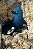 Fisherman boats in the grotto of Tarkhankut cape, Crimea, Black sea - 247862465
