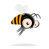 funny cartoon bee vector illustration