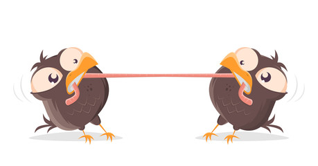funny cartoon birds fighting for a worm