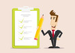 Happy Businessman holding pencil at big complete checklist with tick marks. Business organization and achievements of goals Check list with tick mark, businessman with questionnaire  - 247873493
