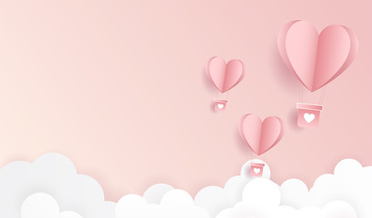 Happy valentine day. Origami made hot air balloon flying on pastel pink background for copy space. minimal concept. Vector Illustration