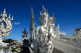 Wat Rong Khun, Thai Temple, Contemporary Art Is a white temple and decorated with glass at Chiang Rai, Thailand